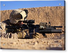 U.s. Marine Scans For Threats Acrylic Print by Stocktrek Images