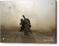 U.s. Marine Shields Himself From Dust Acrylic Print by Stocktrek Images