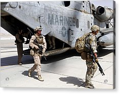 U.s. Marines And British Soldiers Exit Acrylic Print by Stocktrek Images