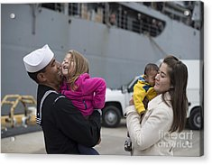 U.s. Navy Sailor Greets His Family Acrylic Print by Stocktrek Images