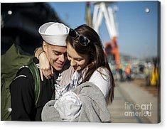 U.s. Navy Sailor Hugs His Wife Acrylic Print by Stocktrek Images