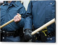 Us Police With Batons Acrylic Print by Jim West