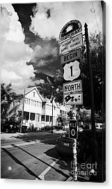 Us Route 1 Mile Marker 0 Start Of The Highway Key West Florida Usa Acrylic Print by Joe Fox
