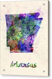Us State In Watercolor Acrylic Print