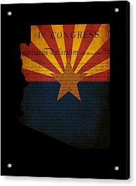 Usa American Arizona State Map Outline With Grunge Effect Flag A Acrylic Print by Matthew Gibson