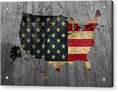 Usa American Flag Country Outline Painted On Old Cracked Cement Acrylic Print