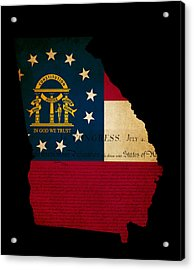 Usa American Georgia State Map Outline With Grunge Effect Flag A Acrylic Print by Matthew Gibson