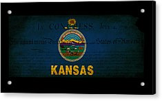 Usa American Kansas State Map Outline With Grunge Effect Flag An Acrylic Print by Matthew Gibson