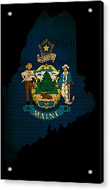 Usa American Maine State Map Outline With Grunge Effect Flag And Acrylic Print by Matthew Gibson