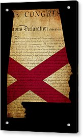 Usa American State Alabama Map Outline With Grunge Effect Flag A Acrylic Print by Matthew Gibson