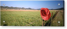 Usa, California, Red Cowboy Hat Hanging Acrylic Print by Panoramic Images