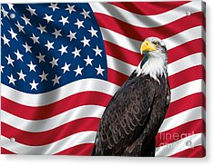 Acrylic Print featuring the photograph Usa Flag And Bald Eagle by Carsten Reisinger