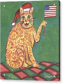 Usa Flag Cat Acrylic Print by Marlene Robbins