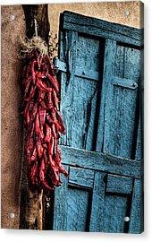 Usa, New Mexico, Taos, Gate And Ristra Acrylic Print by Ann Collins