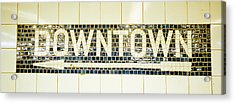 Usa, New York City, Subway Sign Acrylic Print by Panoramic Images