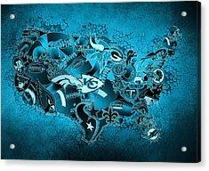 Usa Nfl Map Collage 13 Acrylic Print