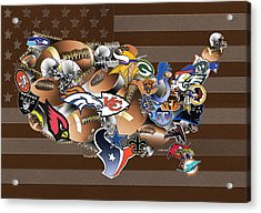 Usa Nfl Map Collage 2 Acrylic Print