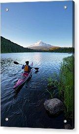 Usa, Oregon A Woman In A Sea Kayak Acrylic Print by Gary Luhm