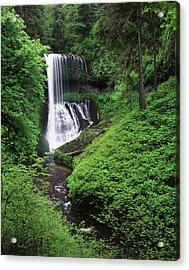 Usa, Oregon, Middle North Falls, Silver Acrylic Print
