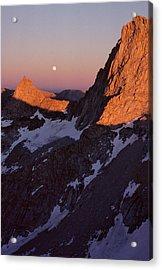 Usa, Sawtooth Peak, Sunset, Moonrise Acrylic Print