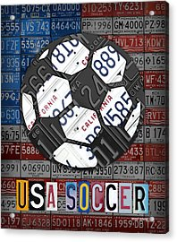 Usa Soccer Recycled Vintage License Plate Art Acrylic Print by Design Turnpike