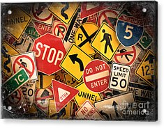 Usa Traffic Signs Acrylic Print by Carsten Reisinger