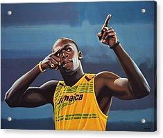 Usain Bolt Painting Acrylic Print by Paul Meijering