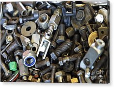 Used Nuts And Bolts Acrylic Print by Sami Sarkis