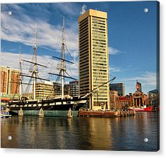 U.s.s. Constellation In Baltimore's Inner Harbor Acrylic Print