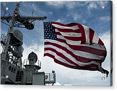 Uss Cowpens Flies A Large American Flag Acrylic Print by Stocktrek Images