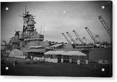 Uss Iowa Black And White Acrylic Print