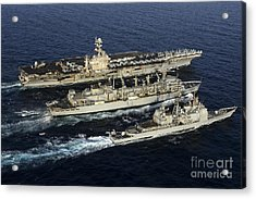 Uss John C. Stennis, Uss Mobile Bay Acrylic Print by Stocktrek Images