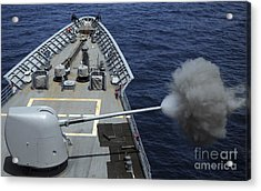 Uss Philippine Sea Fires Its Mk 45 Acrylic Print by Stocktrek Images