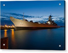 Uss Wisconsin At Sunset Acrylic Print