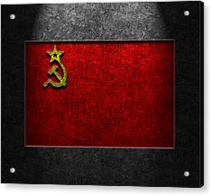 Acrylic Print featuring the digital art Ussr Flag Stone Texture by The Learning Curve Photography
