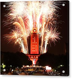 Ut Tower 2013 Fireworks Acrylic Print by Andrew Nourse