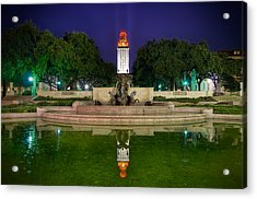 Ut Tower Regular Season Win Reflection Acrylic Print by Preston Broadfoot