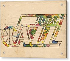 Utah Jazz Retro Poster Acrylic Print by Florian Rodarte