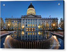 Utah State Capitol In Reflecting Fountain At Dusk Acrylic Print