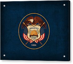 Utah State Flag Art On Worn Canvas Acrylic Print by Design Turnpike