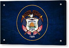 Utah State Flag On Canvas Acrylic Print by Dan Sproul