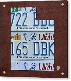 Utah State License Plate Map Acrylic Print