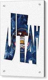 Utah Typographic Map Flag Acrylic Print by Ayse Deniz