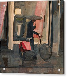 Utrecht - Cycler In The Rain Acrylic Print by Nop Briex