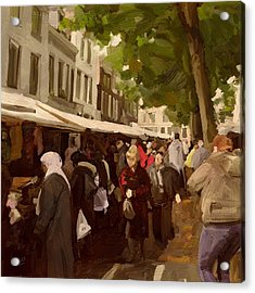 Utrecht - The Saturday's Fabrics Market Acrylic Print by Nop Briex