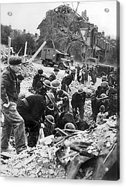 V-1 Bomb Rescue Workers Acrylic Print by Underwood Archives