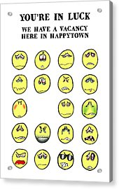 Vacancy In Happytown Acrylic Print by Mark Armstrong