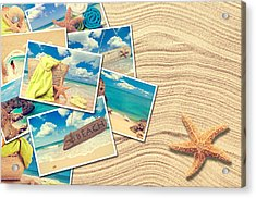 Vacation Postcards Acrylic Print by Amanda Elwell
