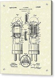 Vacuum Tube 1929 Patent Art Acrylic Print