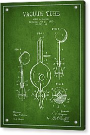 Vacuum Tube Patent From 1905 - Green Acrylic Print